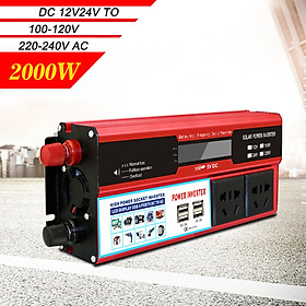 Power Inverter Vehicle Power Converter Universal Modified Sine Wave 2000W DC 12V to 220V AC