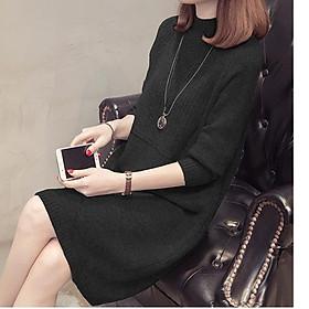 Đầm len dáng suông cổ 3 phân LAHstore, chất len dày mịn, thời trang thu đông 2020