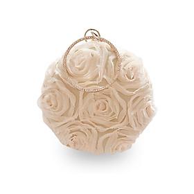 Ví đi tiệc nữ hoa 3D cao cấp kem - TUI140