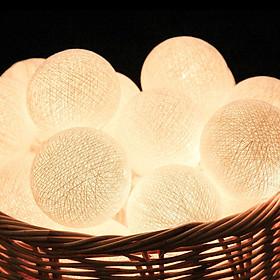 Dây Đèn LED Bóng Tròn Cotton Ball 20 Bóng - Nhiều Màu