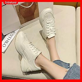 Giày Thể Thao Nữ Sneaker Da Mịn Đế Nâu