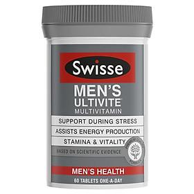 Viên uống bổ sung vitamin cho nam Swisse Men Ultivite Multiv Vitamin giảm căng thẳng 60 viên Nhập Khẩu Úc