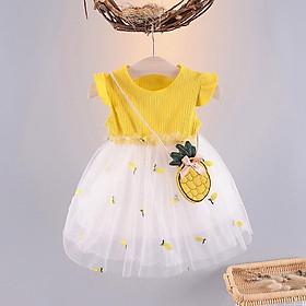 Váy Bé Gái Thun Gân Phối Lưới Quả Dứa Hàn Quốc 1 2 3 4 tuổi TN307 QC
