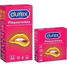 Bao cao su tăng hưng phấn Durex Pleasuremax Hộp 12s + Hộp 3s