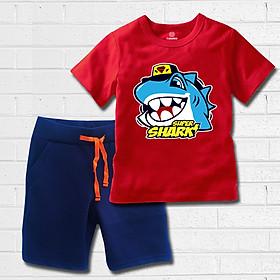 Quần áo bé trai TAMOD màu đỏ hình Cá mập super Shark cao cấp