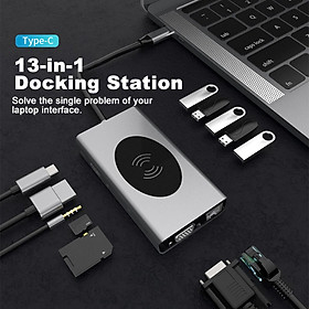 USB C Hub, 13 in 1 USB-C Laptop Docking Station,Compatiable for MacBook (Wireless Charger,5 Pcs USB3.0 RJ45 VGA PD3.0 HDMI SD/TF Card 3.5mm)