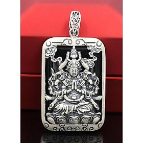 Mặt Phật Thiên Thủ Thiên Nhãn Bạc Thái Đá Đen