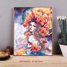 Tranh sơn dầu số hóa tô màu theo số Cô gái thiên thần Nữ thần tóc hoa AN0873