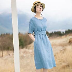 Đầm suông linen cổ tròn dai rời trẻ trung ArcticHunter, thời trang trẻ, phong cách hàng