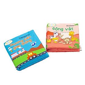 Combo 2 cuốn sách vải song ngữ Lalala baby chủ đề Động vật và Phương tiện giao thông