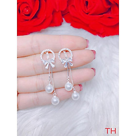 Bông tai thắt nơ cho nữ lại treo trai đôi bạc