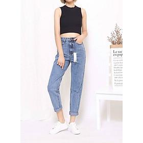 Quần jeans nữ boyfriend cao cấp lưng cao màu xanh đá NEW