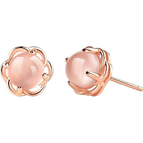 Bông tai nữ Hoa hồng vàng ngọc trai Showfay Jewelry