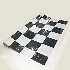 Thảm nhựa simili trải sàn sọc caro trắng đen