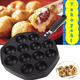 12 Holes Plate UK Takoyaki Pan Octopus Ball Maker Snacks Baking Tray Grill Mold