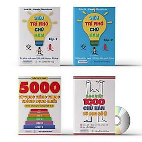 Combo 4 sách: Siêu trí nhớ chữ Hán tập 01 + tập 02 + 5000 từ vựng tiếng trung thông dụng theo khung HSK1 đến HSK6 và học viết 1000 chử Hán từ con số 0+ DVD tài liệu nghe