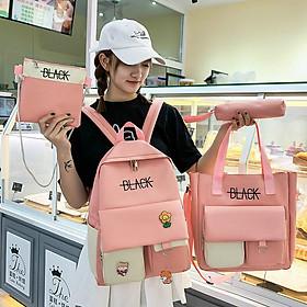 Balo Combo 4 món Back nữ sinh viên học sinh cặp in sticker