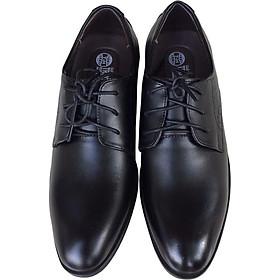 Giày tây nam buộc dây Trường Hải màu đen đế cao su cao 3.5cm da bò thật GT0211