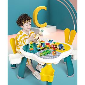 Bộ bàn ghế hình xếp hình hoa anh đào kèm sẵn 85 miếng ghép sáng tạo cho các bé từ 3-10 tuổi, lý tưởng làm bàn học, bàn vẽ.