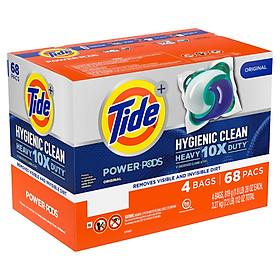 1 Thùng Viên Giặt Tide Power PODS Hygienic Clean Detergent Mỹ - 68 viên