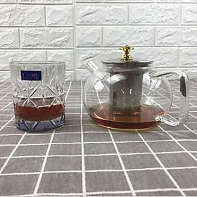 Bình trà thủy tinh pha lê ánh kim chịu nhiệt lên đến 400 độ C kèm bầu lọc bã trà dung tích 1000ml  hàng thủy tinh loại 1 được sản xuất công nghệ Nhật Bản đảm bảo an toàn khi sử dụng GeLife SRV01058