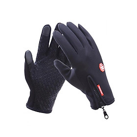 Găng tay phượt nam chất nỉ cảm ứng điện thoại cực HOT GT02 (màu đen)