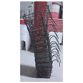 10 Giỏ Sắt 16x14cm - Màu ĐEN Hình Vuông Treo Chậu Hoa Lan Can Ban Công