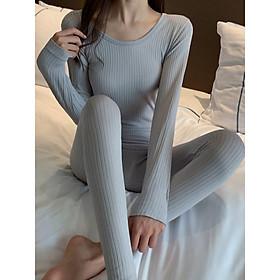 Bộ len tăm giữ nhiệt, áo len nữ, bộ quần áo thu đông nữ, bộ ngủ dài tay, bộ đồ ngủ mặc ở nhà, bộ đồ mặc nhà len tăm HENNY ROE BLT140