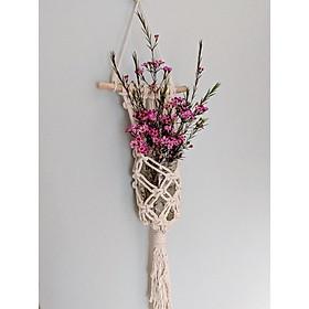 01 Dây treo lọ hoa, chậu cây cảnh nhỏ trang trí nội thất gia đình , dây treo macrame handmade. MN01