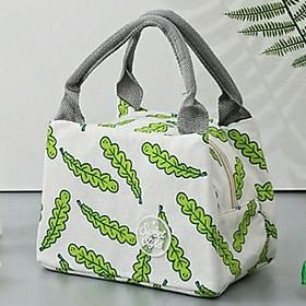 Túi đựng cơm vải Offord, bên trong có lớp giấy bạc giữ nhiệt hình lá dài+ tặng kèm 01 sổ tay nhỏ