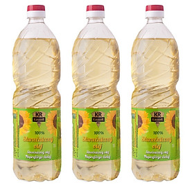 Bộ 3 chai dầu ăn hướng dương bảo vệ sức khỏe chai 1L- Nhập khẩu châu Âu