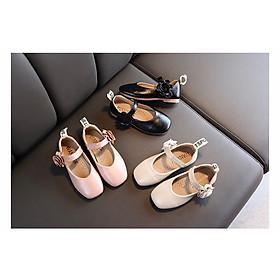 giày búp bê bé gái mũi vuông bông bên hông