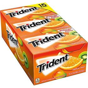 Lốc 12 thanh Kẹo gum Trident Tropical Twist vị Trái cây nhiệt đới (14 viên - Sugarfree)
