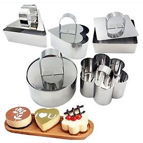 Bộ 5 Khuôn Inox Không Đáy Tròn-Vuông-Trái-Tim-Tam Giác Loại Nhỏ Làm Bánh Tiramisu, Mousse, thạch, pudding,Charlotte Ring Mini
