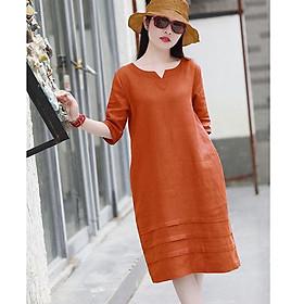 Đầm suông linen tay lỡ cổ phát V LAHstore, chất vải linen tự nhiên mềm mát, thời trang xuân hè 2021