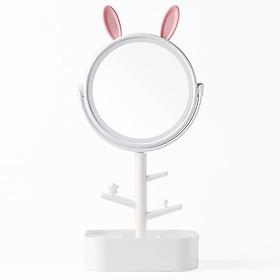 Gương trang điểm đèn LED cảm ứng chạm tích hợp khay đựng dụng cụ trang điểm MINIGOOD cao cấp - EM021