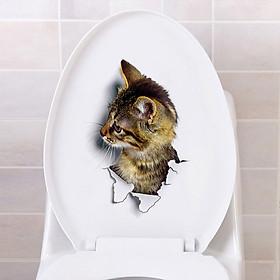 Giấy Dán Tường 3D Hình Mèo (25x16.5CM)