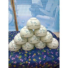 Bộ 10 bát con ăn cơm vẽ hoa đào xanh gốm sứ Bát Tràng