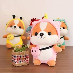 Thú bông Chó Shiba cosplay mặc áo thú -  Kỳ lân hồng - 40cm