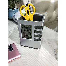 Đồng hồ để bàn kiêm hộp đựng bút V1 ( Tặng kèm đèn led cắm cổng USB ngẫu nhiên )