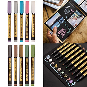 10x Metallic Pens for Craft Art Marker for Wedding Guest Book, Photo album