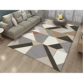 Thảm trải sàn Sofa sang trọng hiện đại trang trí phòng khách Bali in 3D Nhung nỉ lì cao cấp BL87 - Đa giác