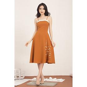 Đầm nữ xòe nữ thiết kế cao cấp hai dây thêu tùng GUMAC DA572