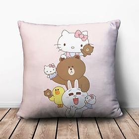 Gối Ôm Vuông Line Friends Và Hello Kitty GVCT614 (36 x 36 cm)