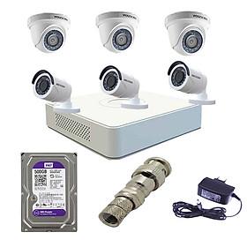 Trọn bộ 6 camera hikvision chính hãng và đầu ghi DS-7108HGHI-F1/N