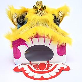 Đầu lân trung thu Sài Gòn có đèn 35cm x 29cm x 27cm - màu vàng