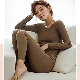 Bộ len tăm giữ nhiệt, áo len nữ, bộ quần áo thu đông nữ,bộ ngủ dài tay chất đẹp mềm mịn