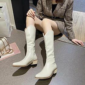 Bốt | boots nữ cổ cao dáng cao bồi miệng ống xẻ hack dài chân trẻ trung cá tính