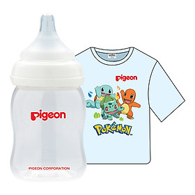 Combo Pigeon: Bình Sữa PP Plus 160ml + Áo Thun Pokemon - Xanh (Size Nhỏ)