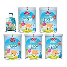 5 hộp sữa Morinaga Hagukumi (850g) - Tặng vali kéo cho bé-0
